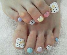#nails #nailart #pedicure #winter #pastel #white #black #polkadot #dot #polka #yellow #pink #purple #blue #turquoise