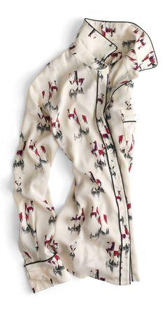 J.Crew Piamita ™ Isabella top. pattern, isabella top, j crew, blous, jcrew piamita, llama, the navy, print, shirt