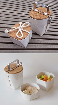 The Tiffin Lunch Kit by Lorea Sinclaire is a faceted bento box made from slip cast ceramic and cork.