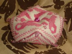 Pink Ribbon and Hearts Beaded Biscornu 8 sided Pincushion by RedCatt on Etsy, £9.99