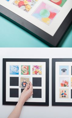 Cool way to display your Instagram pics — a magnetic wooden wall frame, plus you can switch the little photo magnets whenever you like!