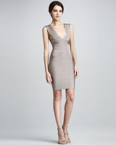 V-Neck Bandage Dress by Herve Leger at Neiman Marcus.