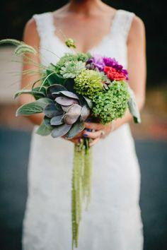 Succulent bouquet: http://www.stylemepretty.com/washington-weddings/2013/12/18/washington-backyard-wedding/   Photography: Ryan Flynn - http://ryanflynnphotography.net/