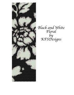 Peyote Stitch Cuff Bracelet Pattern Black and White by KFSDesigns