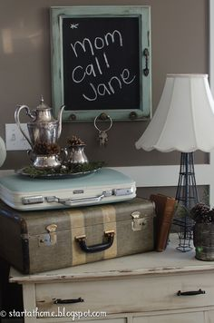 Start at Home: Old Cupboard Door Turned knobbed Chalkboard