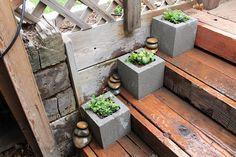 Concrete Block Pots