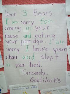Fairy Tales: Goldilocks apology letter.