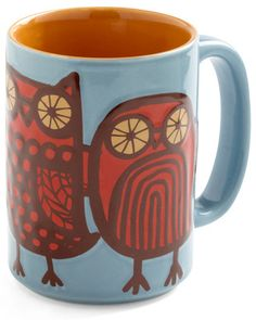 Enjoy your morning cup of joe in this owl coffee mug! Get it here: http://www.bhg.com/shop/kitschn-glam-owl-ready-to-go-mug-in-blue-p5037896682a7bb69c3e2ded8.html?mz=a