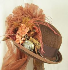 Steampunk Hat with Netting and Clock Pieces