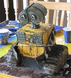 Homemade Wall E Cake: I took inspiration from a photo I found on the internet. It had no instructions to go along, so it required some creativity to complete.   This Wall E