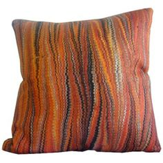 Humble-Haute.com - Red and Orange Stripe Pillow