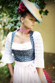 The red and white gingham neck scarf is a charmingly fun touch (Sportalm Kitzbühel S/S 2012). #German #Austrian #folk #costume #dirndl #tracht #dress #hat