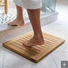 Teak Spa Mat    http://www.frontgate.com/teak-spa-mat/bed-bath/bath-towels-guest-towels/26559