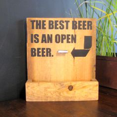 Beer Bar Sign Bottle Opener and Cap Catch Gift by RusticVision, $40.00