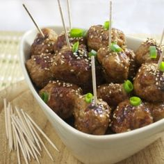 Tsukune (Japanese teriyaki chicken meatballs). Perfect party nibbles.
