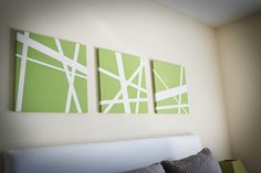 Canvas and painters tape! So easy and looks really neat.