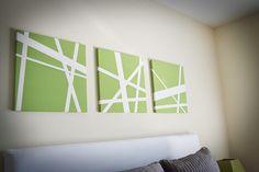 living rooms, diy canvas art, art paintings, diy art, bed, blank canvas, painter tape, diy wall art, masking tape