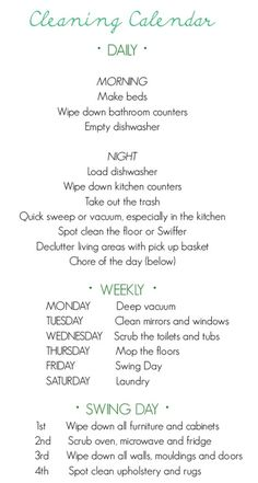 Daily chore chart ~ keeps cleaning manageable.  Also cool site for decorating/repurposing ideas.