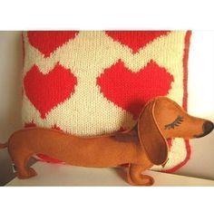 Barbeque the Dachshund Weiner Dog Wool Felt Applique by Cuore, $26.00