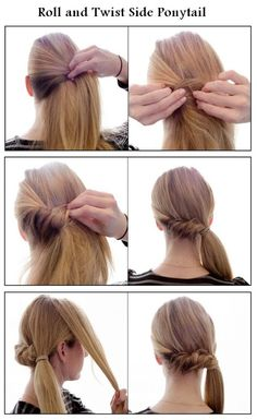 Make a Roll and Twist Side Ponytail | hairstyles tutorial hair tutorials, roll, bridesmaid hair, long hair, hairstyle tutorials, wedding hairs, side ponytail, pony tails, ponytail hairstyles