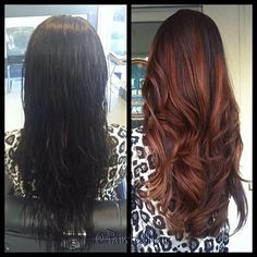The Before and After. What do you think? Dark Brown or Copper? #haircolours #longhair