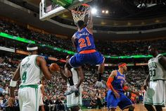 MAY 3: Iman Shumpert #21 of the New York Knicks dunks against the Boston Celtics in Game Six
