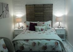 """Design on a nickel"" workout room into bedroom with headboard from bamboo screen.  Not the best pic."