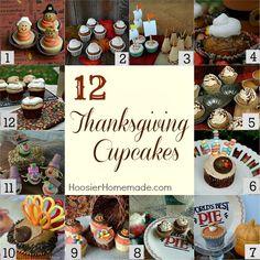 12 Thanksgiving Cupcakes on HoosierHomemade.com