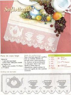tea set tea sets, teas, filet crochet borders, puntilla, ganchillo, crochet edgings, croché, szydełkomania, edg chart
