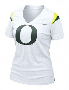 oregon duck gear for women   Oregon Ducks Women's Nike White Football Replica Tee