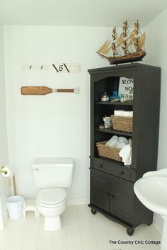 The Country Chic Cottage   Nautical Themed Bathroom Design.
