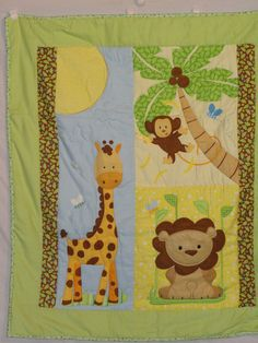 Flannel Jungle Baby Quilt with lions monkeys by grannysbabyquilts