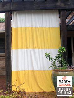 See how to make this yellow and white striped outdoor curtain >> http://blog.diynetwork.com/maderemade/how-to/turn-indoor-curtains-into-outdoor-curtains?soc=pinterest