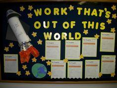space bulletin board ideas, space display, board art, bulletin boards, bulletinboard, space theme, art displays, display boards, classroom ideas