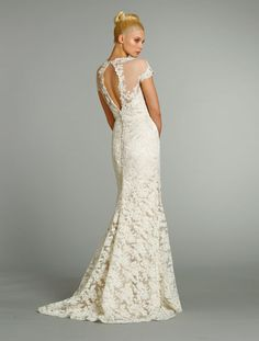 Love this Jim Helm slit open back lace wedding gown