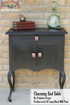 Primitive and Proper, primitiveandproper.blogspot.com, used GF Lamp Black Milk Paint to give this cabinet a whole new look. Looking for place to buy GF products? You can find our paints, glazes, water based and oil based stains and topcoats (including the One Can Wonder, Java Gel) at Woodcraft and Rockler Woodworking stores or use your zip code to find a retailer near you at http://generalfinishes.com/where-buy#.UvASj1M3mIY. Limited selections also available at www.leevalley.com in Canada. #gfmilkpaint #generalfinishes #primitiveandproper