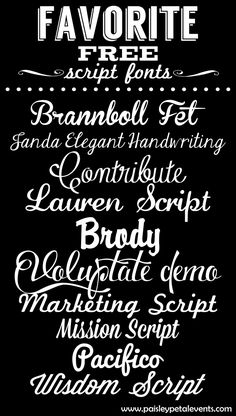 Favorite Free Script Fonts from Paisley Petal Events