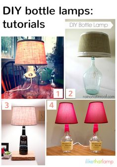 Learn how to make a lamp out of a wine or liquor bottle with these diy bottle lamp tutorials | ilikethatlamp.com Diy Bottles, Crafty Things, Bottles Ideas, Crafty Decor, Crafty Crafts, Bottles Lamps, Crafts Diy, Furniture Hom Decor, Alcohol Crafts