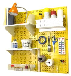 Pegboard Craft Organizer by Wall Control. Yellow pegboard with white tool board accessories. (PN: 30-CC-200 YW)