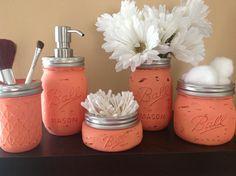 Love the color and love the idea of a hand painted mason jar bathroom set.