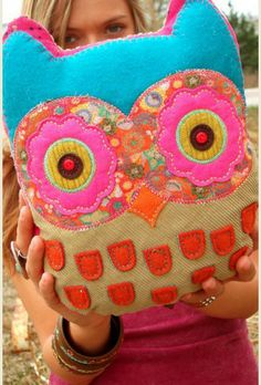 """hoo doesn't need this??? boho owl pillow with embroidered message on the back """"LET it BE"""" {junk gypsy co - http://gypsyville.com/ }"""