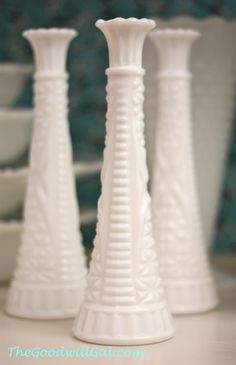 A trio of tall milk glass vases.  #Goodwill #Vintage #antique #milk glass #collection