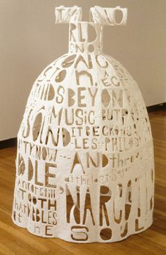 artists, whitewing poem, paper dresses, poem dress, paper installation, lesley dill, ceramic art, paper sculptures, 3d printing