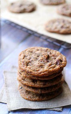 roasted almond, chocolate chip, cacao nib cookies with smoked sea salt