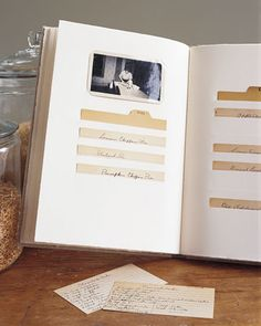 A recipe scrapbook safeguards fragile original cards, preserving handwritten notes along with ancient spills and spatters. Photos of family gatherings at the table -- and stove -- complete the story. On the following pages are five steps to organizing cherished old recipe cards as well as recent favorites.