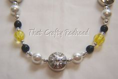 Great for the Yellow Jacket games this fall - Black Yellow and Pearl Necklace Silver by ThatCraftyRedhead, $35.00