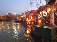 Ganga Arati, Haridwar, this prayer ceremony to the sacred river Ganges takes places at dusk daily.  2012 Komilla Sutton