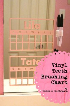 This is GENIUS find from Dukes  Duchesses - vinyl teeth brushing chart that stick to the mirror in the bathroom! Do you use charts for kids chores?