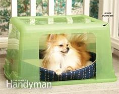 You can use a plastic storage bin for a dog house! #doghouse #dogs #diy