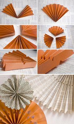 DIY - Book Page Wheels (accordian folded/pleated) - Tutorial